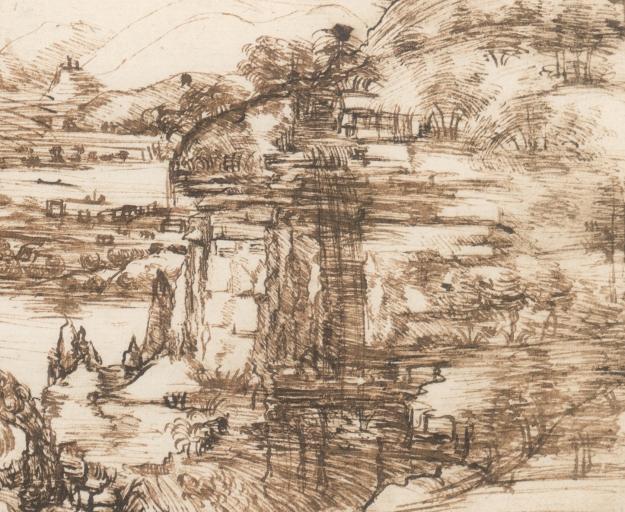 Leonardo da Vinci, Paesaggio con fiume
