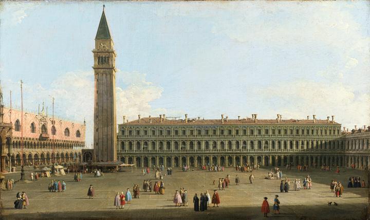 Canaletto, Piazza San Marco, Venezia, La biblioteca con scorcio della Basilica