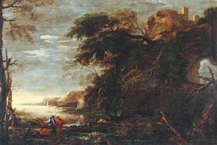 Forme di degradazione del paesaggio urbano. Salvator Rosa, Paesaggio con arco di rocce e viandanti, sec. XVII.